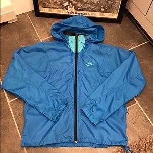 Nike Unisex Vintage Blue Hooded Windbreaker Small